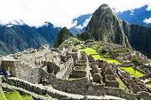 picture of world-famous  - Machu Picchu the ancient Inca city in the Andes Peru - JPG