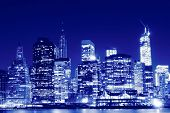 Lower Manhattan Skyline At Night, New York City