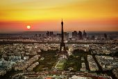 Paris, France at sunset. Aerial view on the Eiffel Tower and the Champ de Mars