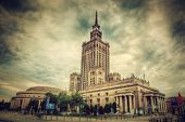 The Palace of Culture and Science, one of the symbols of Warsaw, Poland. Retro, vintage style. Palac