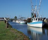 image of sounding-rod  - Fishing boats at Swan Quarter North Carolina - JPG