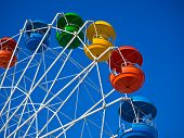foto of fragmentation  - Fragment of wheel reviews with coloured cabins on background of blue sky St - JPG
