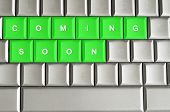 Coming Soon Spelled On A Metallic Keyboard