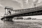 Budapest Chain Bridge Day Monochrome View