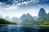 pic of raft  - Beautiful Yu Long river Karst mountain landscape in Yangshuo Guilin China - JPG