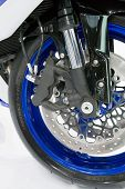 Moscow, Russia - 28 August, 2008: Front Wheel Of Yamaha Motobike At Moscow International Exhibition