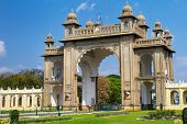 The Eastern gate of the Mysore Palace. Karnataka, India