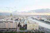 Kievsky Railway Station, Ministry of Foreign Affairs building, Moscow river in evening in Moscow, Ru