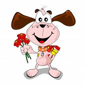 Cartoon dog with gifts