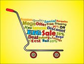 Shopping Cart Illustration: Mega Or Big Summer Sale Shopping Cart Banner With All Key Texts Related