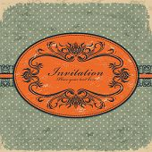 Vintage retro invitation grunge card template design