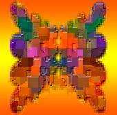 Composición gráfica. Una composición sin sentido con el uso de bloques multicolor.