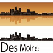 Des Moines Skyline In Orange Background