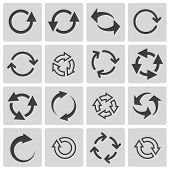 pic of glyphs  - Vector black refresh icons set on white background - JPG