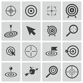 image of army  - Vector black  target  icons set on white background - JPG