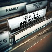 stock photo of insurance-policy  - Folder with health insurance documents inside concept of insured person - JPG