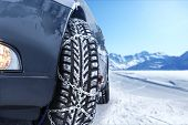 Car With Mounted Snow Chains