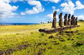 Standing Moais Looking At Sea In Easter Island