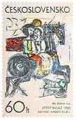 Stamp Printed In Czech (czechoslovakia) Shows Draw By Jozef Balaz
