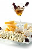 Cheese Plate with Grapes, Nuts and Honey