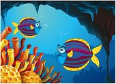 Illustration of the two colorful fishes inside the cave under the sea on a white background
