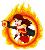 Illustration of a flaming female superhero on a white background