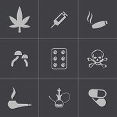 picture of crack cocaine  - Vector black drugs icons set on gray background - JPG