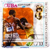 Stamp Printed In Cuba, Devoted Olympic Games In Moscow (1980) And Shows Boxing, Two Boxers In Ring