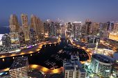 foto of emirates  - Dubai Marina illuminated at night - JPG
