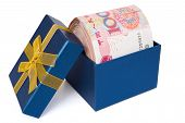 Big Stack Of Rmb In A Blue Present Box With Clipping Path