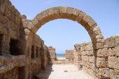 Roman Harbor Ruins In Caesarea