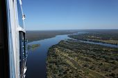 Sightseeing Helicopter At Zambezi River Of Victoria Falls