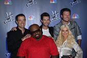 Carson Daly, Christina Aguilera, Cee Lo Green, Adam Levine and Blake Shelton at 'The Voice' Season 2 Press Conference, Sony Studios, Culver City, CA 10-28-11