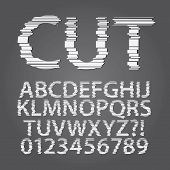 Horizontal Paper Cut Alphabet And Digit Vector