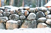 Stone Wall In Winter