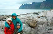 Family Near Summer Senja Coast (jagged Ersfjord, Norway, Polar Day)