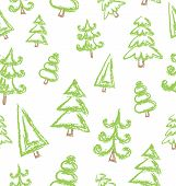 Vector Seamless Pattern Of Hand Drawn Christmas Tree