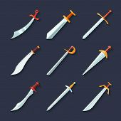 picture of swords  - Swords knives daggers sharp blades flat icon set isolated vector illustration - JPG