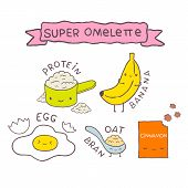 cute cartoon Super omelette recipe