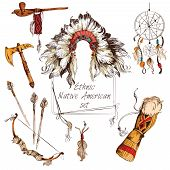 stock photo of indian chief  - Ethnic native american indian tribal chief sketch colored decorative elements set isolated vector illustration - JPG