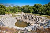 Amphitheater- Remains of the ancient Baptistery from the 6th century at Butrint, Albania. This Archeological site is World Heritage Site by UNESCO.