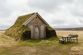 image of rebuilt  - Geirsstadir turf church discovered in eastern Iceland - JPG