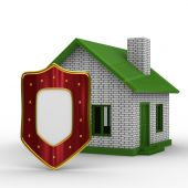 House And Shield On White Background. Isolated 3D Image