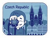 Illustration with catedral in Czech Republic