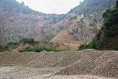 Limestone Quarry, Piles Of Limestone Rocks.