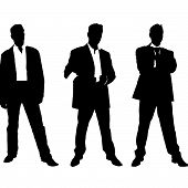 collection of vector silhouettes of men in suite
