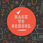 Stylish sticky with text Back to School on seamless background.