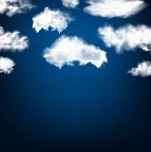 Realistic white fluffy clouds over blue background. Vector illustration.