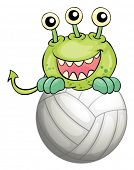 Illustration of a monster above the ball on a white background