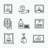 Printer 3d icons set